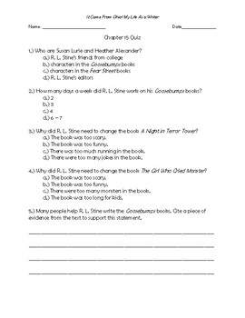 It Came From Ohio! My Life as a Writer Chapter 15 Quiz