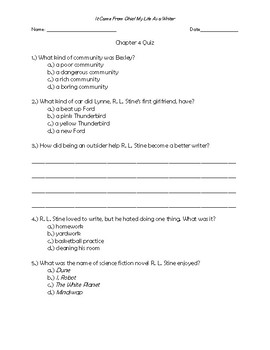 It Came From Ohio! My Life as a Writer Chapter 4 Quick Quiz