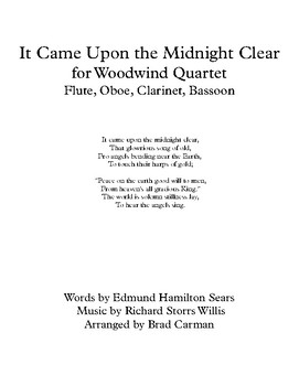 It Came Upon the Midnight Clear for Woodwind Quartet