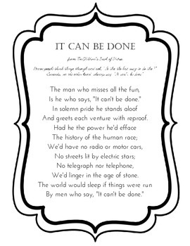 It Can Be Done Poem, from the Children's Book of Virtues
