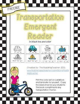 Transportation Emergent Reader FREEBIE