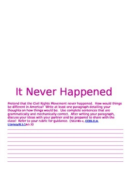 It Never Happened Civil Rights Writing Activity
