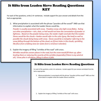 It Sifts from Leaden Sieves Reading Activities (Emily Dickinson)