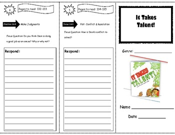 It Takes Talent! Storytown Comprehension Trifold