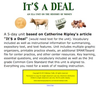 It'$ a Deal Multi-Day Complete ELA SMARTboard Unit; CCSS aligned