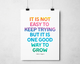 It is Not Easy To Keep Trying, Mister Roger Quote, Inspirational Class Decor