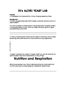 It's Alive Yeast Lab! Characteristics of Living Things Review