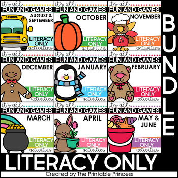 Literacy Centers and Literacy Games for Kindergarten {Year Long BUNDLE}