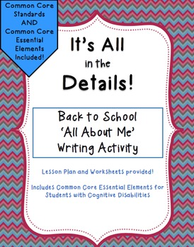 It's All in the Details!  'All about Me' Writing Activity