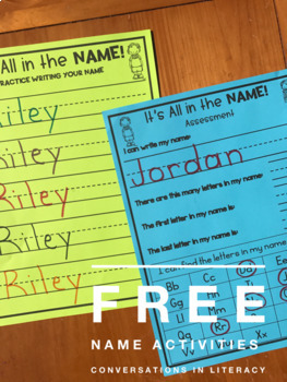 Letter Identification It's All in the Name!  Free Name Activity