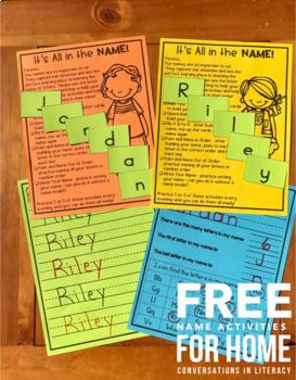 Name Activity | Kindergarten Letter Identification Free Independent Work Packets