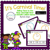 It's Carnival Time BOOM CARDS Time to the Hour and Half Hour