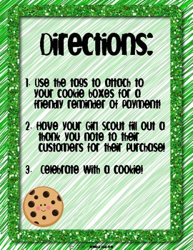 It's Cookie Time: A Reminder Tag and Thank You Note for Girl Scouts