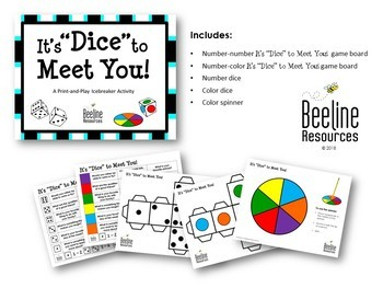 "It's ""Dice"" to Meet You! / Icebreaker Activity *2 boards, dice, spinner*"