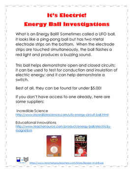 It's Electric! Energy Ball Investigations