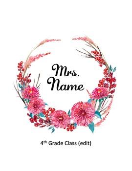 It's Fall! EDITABLE Classroom Door Teacher Name Sign - Fall Wreath