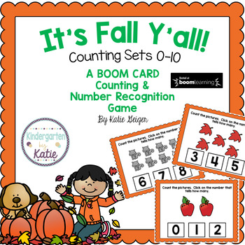 It's Fall Y'all BOOM CARDS Counting Sets to 10