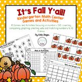 Fall Kindergarten Math Center Games and Activities