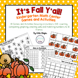 Fall Kindergarten Math Center Games and Activities