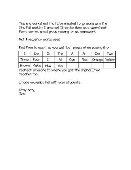 It's Fall - Worksheet