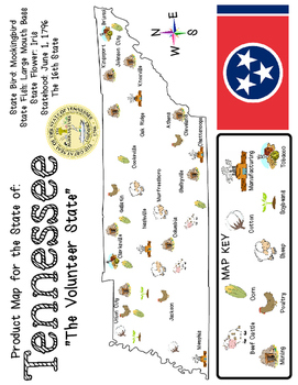 It's From: Tennessee  - A Mini Unit about Resources, Product Maps, & Facts