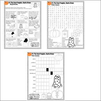 It's Great Pumpkin Charlie Brown Halloween : Word Search & Sequencing Fun