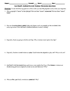 """Ayn Rand's """"Anthem"""" Socratic Seminar Discussion Questions"""