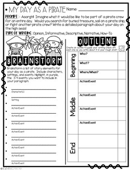 It's My Day as a Pirate!  Narrative Step-Up Paragraph Packet