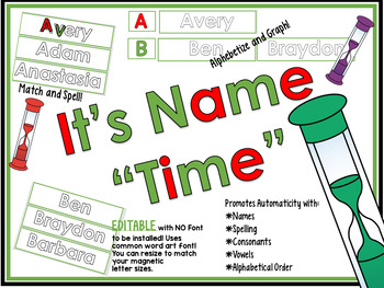 """It's Name """"Time""""! EDITABLE Magnetic Letter Center"""