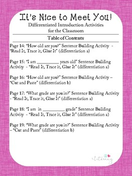 It's Nice to Meet You! Differentiated Introduction Activities for the Classroom