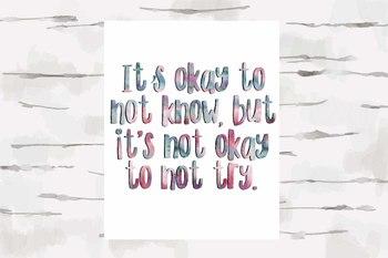 It's Okay to not know, but it's not okay to not try quote, Classroom Decor