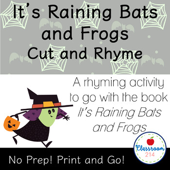 It's Raining Bats and Frogs Halloween Rhyming Literacy Activity