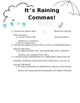 It's Raining Commas Rule Sheet