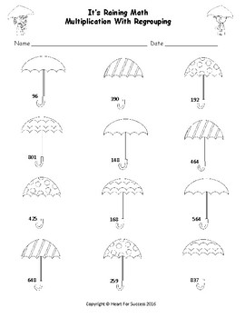 It's Raining Math (Multiplication With Regrouping: Two Digit By One Digit)