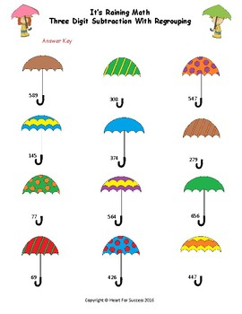 It's Raining Math (Three Digit Subtraction With Regrouping)