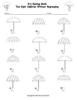 It's Raining Math (Two Digit Addition Without Regrouping)