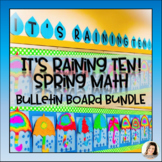 It's Raining TEN!  April Showers Math Bulletin Board - Umbrella Raindrops Spring