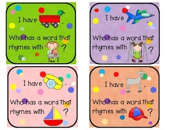 It's Rhyme Time: I Have, Who Has Game  {one-time prep rhyming literacy center}
