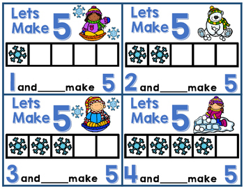 It's Snow Much Fun Making 5 and 10-Addition Practice to 10-Winter theme