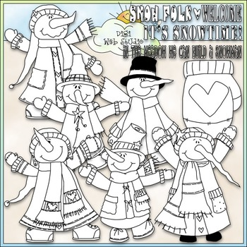 It's Snowtime Clip Art - Dressed Up Snowman Clip Art - CU Clip Art & B&W