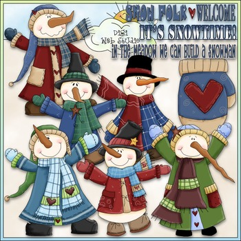 It's Snowtime Clip Art - Dressed Up Snowman Clip Art - CU