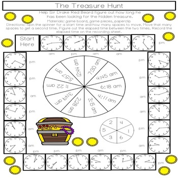 It's TIME to find the TREASURE: 8 Print and Go Elapsed Time Games