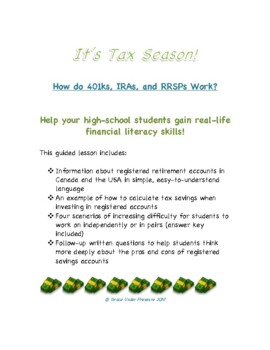 Financial Literacy Lesson: Tax Refunds: How do 401ks, IRAs, and RRSPs Work?