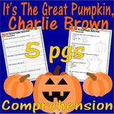 Great Pumpkin Charlie Brown Halloween Reading Comprehensio