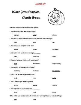 It's The Great Pumpkin, Charlie Brown Halloween Video Questions-Easy Format