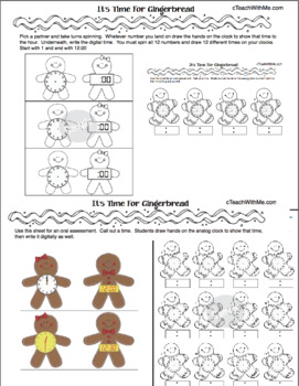 Gingerbread Activities: Telling Analog & Digital Time To The Hour & Half Hour