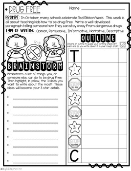 It's Time to Be Drug Free! How-To Step-Up Paragraph Packet