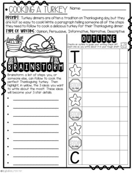 It's Time to Cook a Turkey!  How-To Step-Up Paragraph Packet