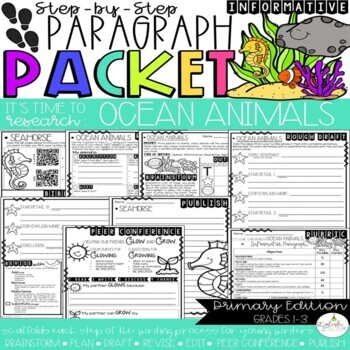 It's Time to Research: Ocean Animals!  Research/Inform. Step-Up Paragraph Packet