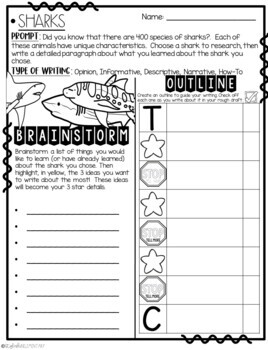 It's Time to Reserach: Sharks! Informative Step-Up Paragraph Packet